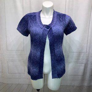 Dress Barn Shrug Blue Purple Sweater Cardigan L